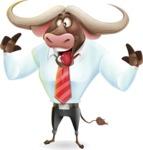 Business Buffalo Cartoon Vector Character - Making Funny face
