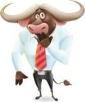 Business Buffalo Cartoon Vector Character - Making Oops gesture