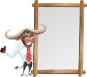 Business Buffalo Cartoon Vector Character - Making peace sign with Big Presentation board
