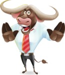 Business Buffalo Cartoon Vector Character - Making stop gesture with both hands