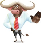 Business Buffalo Cartoon Vector Character - Making stop with a hand