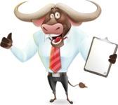 Business Buffalo Cartoon Vector Character - Making thumbs up with notepad