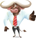 Business Buffalo Cartoon Vector Character - Making Thumbs Up