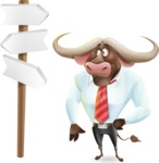 Business Buffalo Cartoon Vector Character - on a Crossroad with sign pointing in all directions