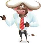 Business Buffalo Cartoon Vector Character - Pointing with both hands