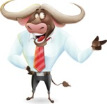 Business Buffalo Cartoon Vector Character - Pointing with left hand