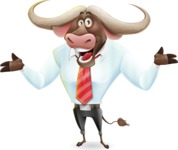 Business Buffalo Cartoon Vector Character - Presenting with both hands