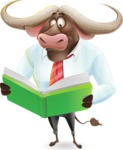 Business Buffalo Cartoon Vector Character - Reading a book