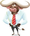 Business Buffalo Cartoon Vector Character - Rolling Eyes
