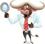Business Buffalo Cartoon Vector Character - Searching with magnifying glass