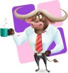 Business Buffalo Cartoon Vector Character - Shape 12
