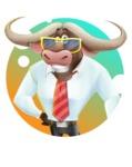 Business Buffalo Cartoon Vector Character - Shape 2