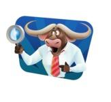 Business Buffalo Cartoon Vector Character - Shape 4