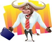 Business Buffalo Cartoon Vector Character - Shape 8