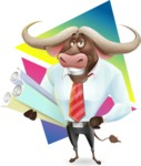 Business Buffalo Cartoon Vector Character - Shape 9