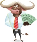 Business Buffalo Cartoon Vector Character - Show me the Money