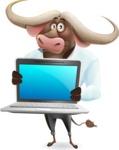 Business Buffalo Cartoon Vector Character - Showing a laptop