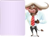 Business Buffalo Cartoon Vector Character - Showing Big Blank banner