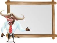 Business Buffalo Cartoon Vector Character - Showing on Big whiteboard
