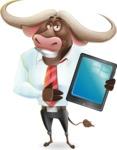 Business Buffalo Cartoon Vector Character - Showing tablet