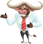 Business Buffalo Cartoon Vector Character - Showing with both hands