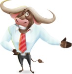 Business Buffalo Cartoon Vector Character - Showing with left hand