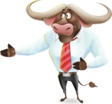 Business Buffalo Cartoon Vector Character - Showing with right hand