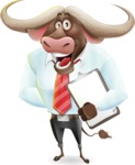 Business Buffalo Cartoon Vector Character - Smiling and holding notepad