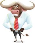 Business Buffalo Cartoon Vector Character - Smiling