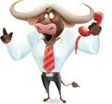 Business Buffalo Cartoon Vector Character - Talking on phone