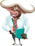 Business Buffalo Cartoon Vector Character - Traveling