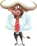 Business Buffalo Cartoon Vector Character - Waiting with hands behind back
