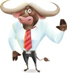 Business Buffalo Cartoon Vector Character - Waving for Goodbye with a hand