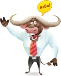 Business Buffalo Cartoon Vector Character - Waving for Hello with a hand