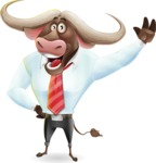 Business Buffalo Cartoon Vector Character - Waving