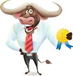 Business Buffalo Cartoon Vector Character - Winning prize