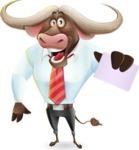 Business Buffalo Cartoon Vector Character - with a Blank Business card