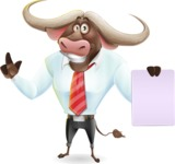 Business Buffalo Cartoon Vector Character - with a Blank paper