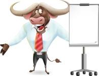 Business Buffalo Cartoon Vector Character - with a Blank Presentation board
