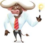Business Buffalo Cartoon Vector Character - with a Light bulb