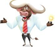 Business Buffalo Cartoon Vector Character - with an Idea