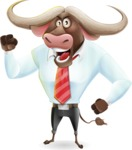 Business Buffalo Cartoon Vector Character - with Angry face