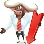 Business Buffalo Cartoon Vector Character - with Arrow going Down