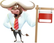 Business Buffalo Cartoon Vector Character - with Blank Real estate sign