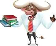 Business Buffalo Cartoon Vector Character - with Books