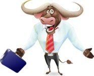 Business Buffalo Cartoon Vector Character - with Briefcase