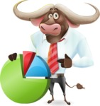 Business Buffalo Cartoon Vector Character - with Business graph