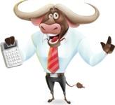 Business Buffalo Cartoon Vector Character - with Calculator