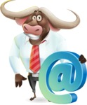 Business Buffalo Cartoon Vector Character - with Email sign