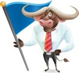 Business Buffalo Cartoon Vector Character - with Flag